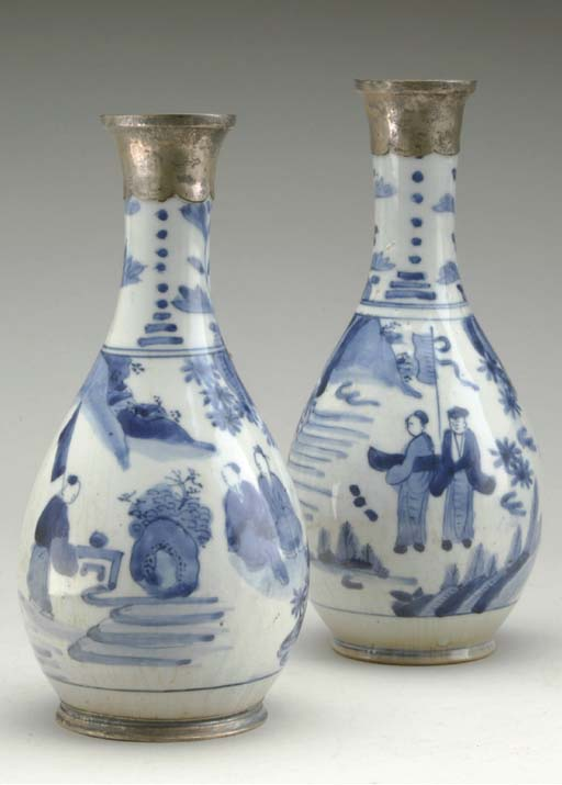 A PAIR OF SILVER-MOUNTED CHINE