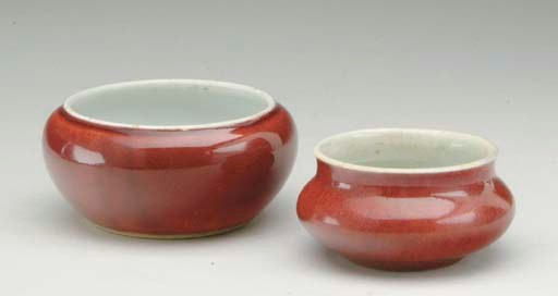 TWO CHINESE COPPER-RED GLAZED