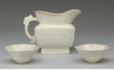THREE CHINESE CREAMY-WHITE GLA