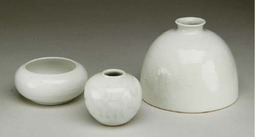 THREE CHINESE WHITE-GLAZED VES