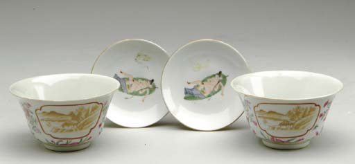 A PAIR OF FAMILLE ROSE BOWLS A