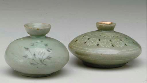 TWO KOREAN INLAID CELADON SMAL