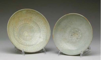 TWO KOREAN PUNCH'ONG WARE BOWL