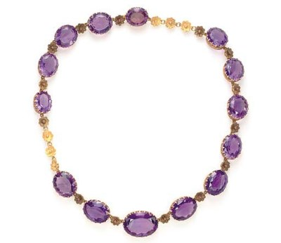 AN ANTIQUE AMETHYST AND GOLD N