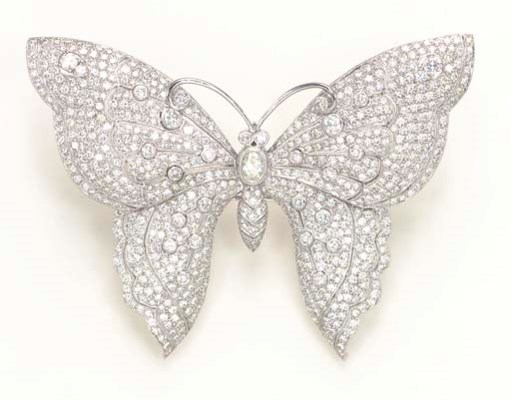 A DIAMOND AND PLATINUM BUTTERF