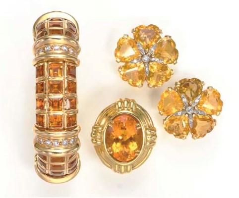 A GROUP OF CITRINE, DIAMOND AN