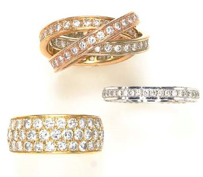 A GROUP OF DIAMOND AND 18K GOL