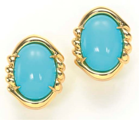 A PAIR OF TURQUOISE AND 18K GO