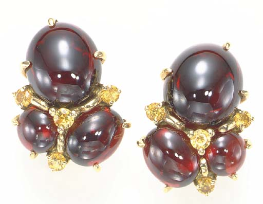 A PAIR OF GARNET, YELLOW SAPPH