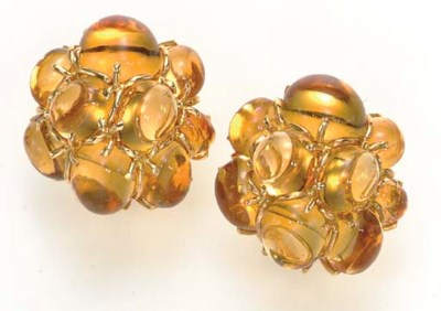 A PAIR OF CITRINE AND 18K GOLD