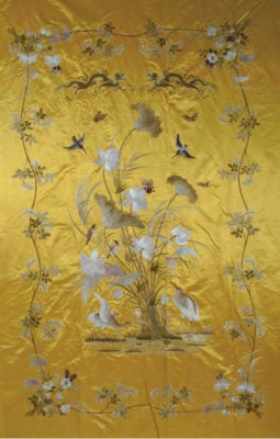 A JAPANESE EMBROIDERED YELLOW-