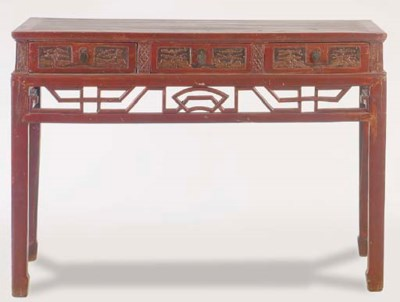 A CHINESE RED-PAINTED HARDWOOD