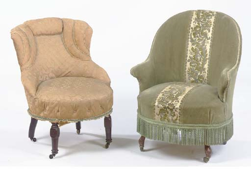 TWO UPHOLSTERED SLIPPER CHAIRS