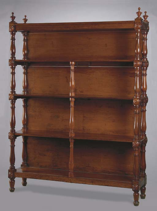 A CARVED MAHOGANY FOUR TIERED