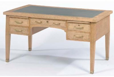 A LOUIS XVI STYLE OAK AND LEAT