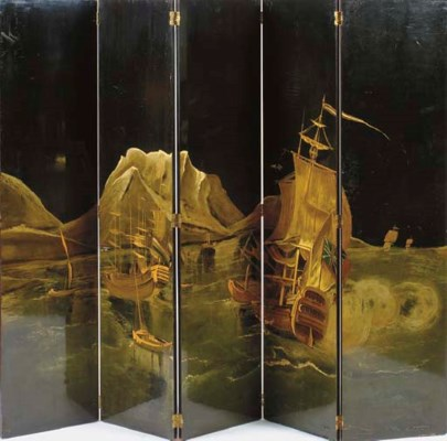 A FIVE PANEL LACQUER AND GILT-