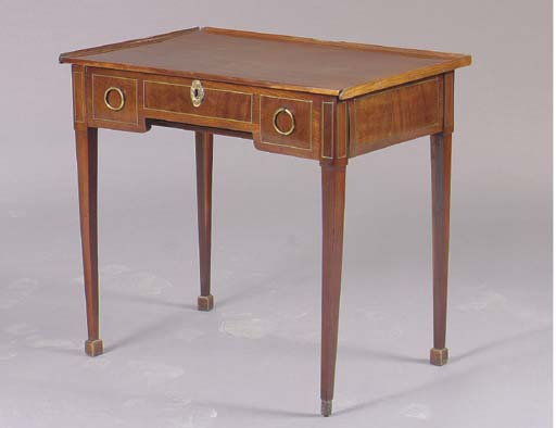 A FRENCH BRASS INLAID MAHOGANY