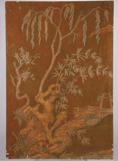 AN ASIAN LACQUER PANEL,