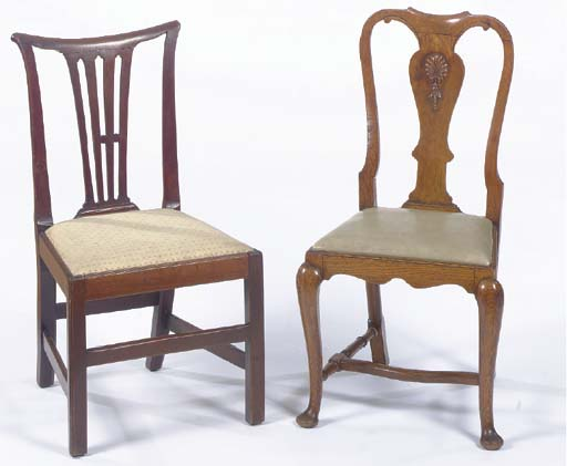 A PAIR OF QUEEN ANNE STYLE OAK