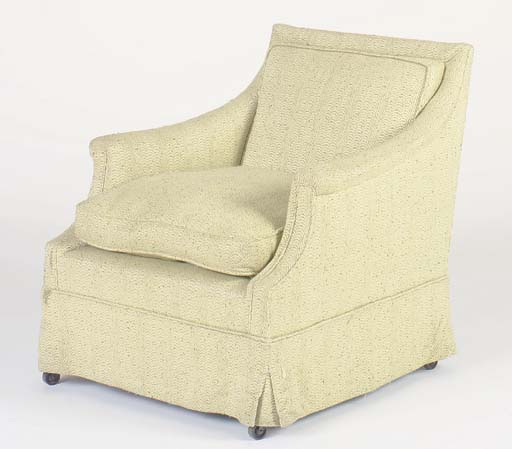 A GREEN CHENILLE UPHOLSTERED C