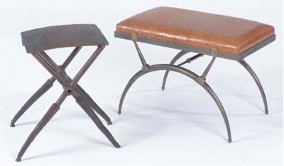 TWO CONTEMPORARY STEEL LOW STO