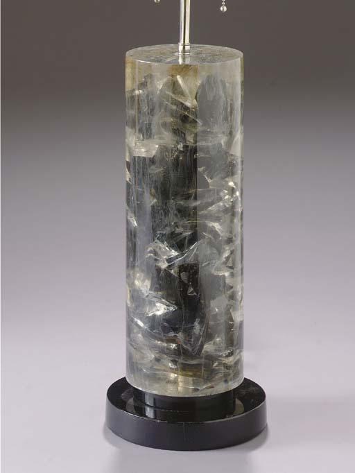 A CONTEMPORARY LUCITE LAMP DEC