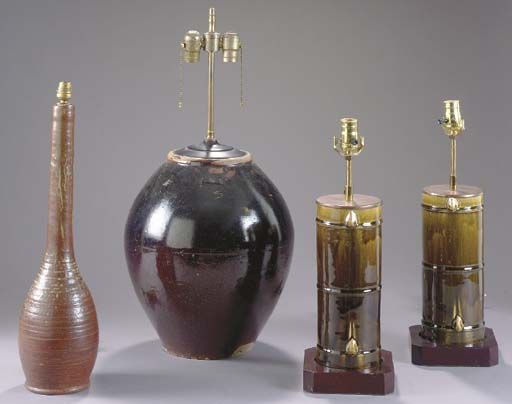 A PAIR OF BAMBOO-FORM GLAZED C