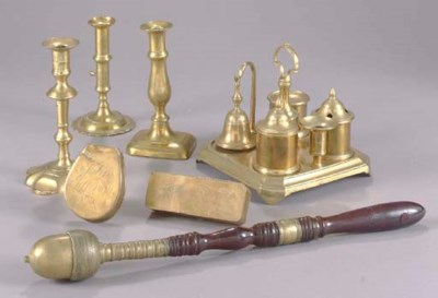 A GROUP OF BRASS TABLE OBJECTS