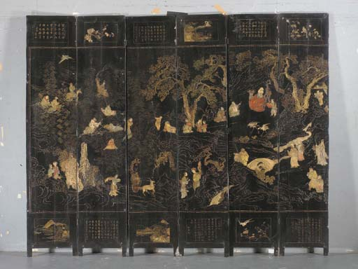 A CHINESE LACQUER TEN-PANEL SC