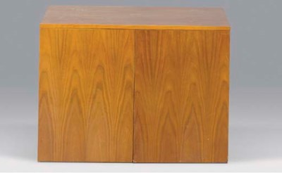 A WALNUT STORAGE CABINET,