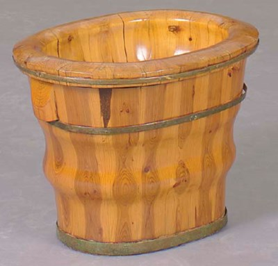 A FRUITWOOD OVAL AND METAL BAN