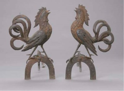 A PAIR OF WROUGHT IRON ROOSTER