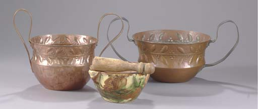 A GROUP OF TWO COPPER REPOUSSE
