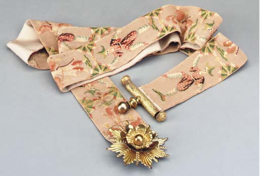 A FRENCH NEEDLEWORK BELL PULL