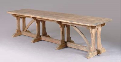 AN ENGLISH PINE REFECTORY TABL