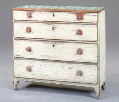 A RUSTIC CREAM AND BLUE PAINTE