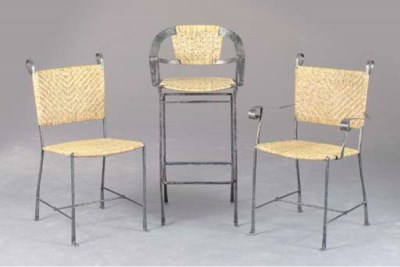 A SET OF TEN WROUGHT IRON AND