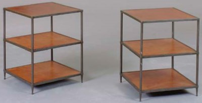 A PAIR OF PATINATED METAL AND