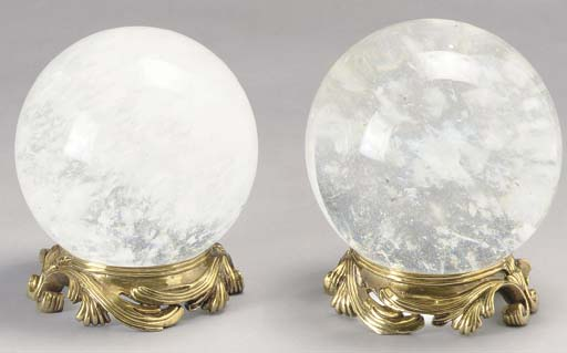 A PAIR OF ROCK CRYSTAL SPHERES