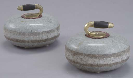 TWO MARBLE CURLING BOWLS,