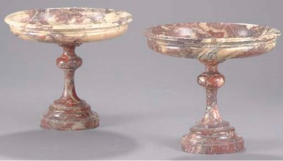 A PAIR OF MARBLE TAZZE,