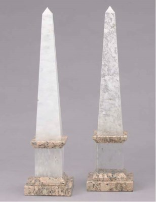 A PAIR OF ROCK CRYSTAL AND MAR