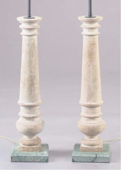 A PAIR OF TURNED WOOD LIME-WAS