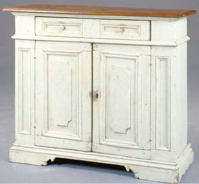 AN OAK CREAM-PAINTED SIDE CABI