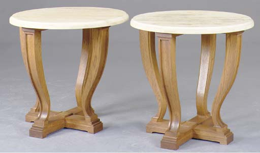 A PAIR OF OAK AND TRAVERTINE S
