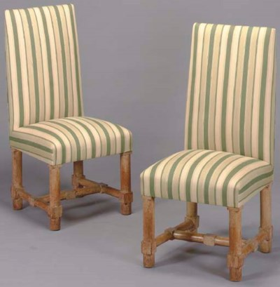 A PAIR OF LIMED OAK SIDE CHAIR