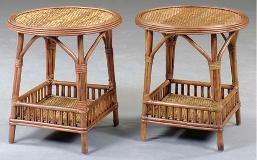 A PAIR OF RATTAN AND FAUX BAMB