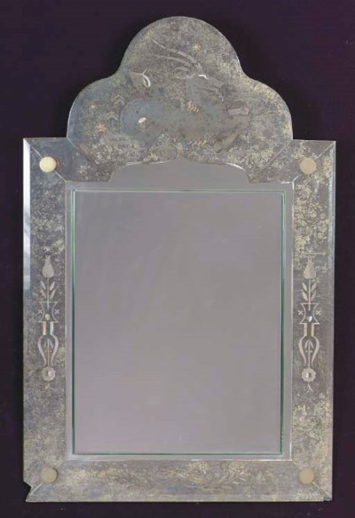 AN ART DECO VERRE EGLOMISE AND