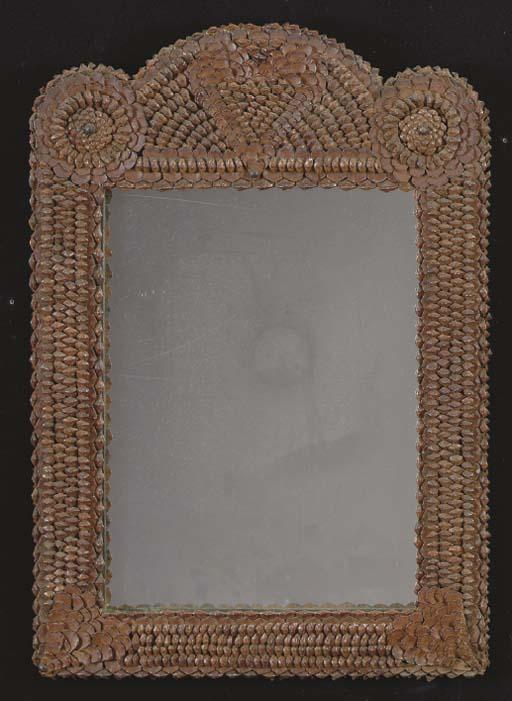 A TRAMP ART PINECONE WALL MIRR