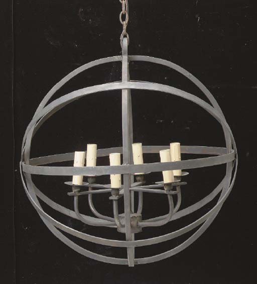 A WROUGHT IRON SPHERE-FORM SIX